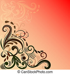 Reddish vector background with floral corner ornament.