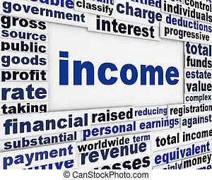 reddito, finanziario, manifesto, disegno