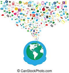 rede, ícones, mídia, fundo, social, homem