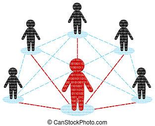 rede, communication., equipe negócio, concept., vetorial, ilustração