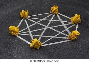 rede, completamente, -, conectado, 4, modelo, topology