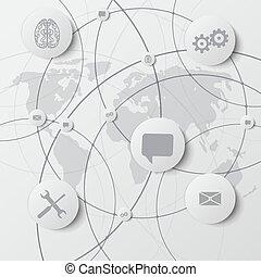 rede computador, ícones, vetorial, fundo, social