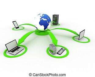 rede computador, e, internet, comunicação, conceito