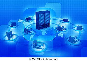 rede computador, e, internet, comunicação