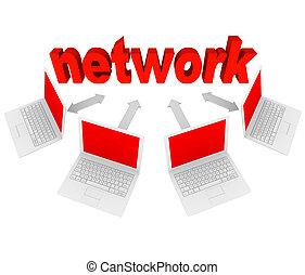 rede, computadores laptop, -, conexões, social, ligado