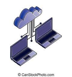 rede, computando, laptop, dois, conectado, dados, nuvem