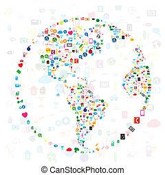 rede, comunicação, global, computador, social, redes