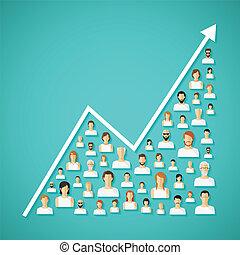 rede, concept., vetorial, crescimento, demografia, social, população
