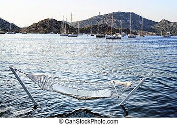 rede, destino, férias, mar