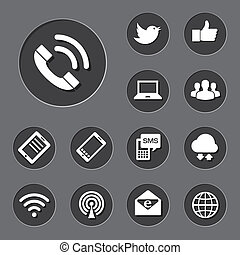 rede, dispositivos, set., ícones, móvel