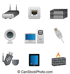 rede, e, computador, dispositivos