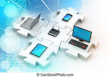 rede, e, internet, comunicação