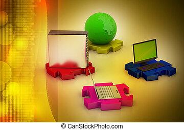 rede, e, internet, comunicação, conceito