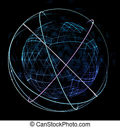rede, espaço,  global, órbita, desenho,  digital