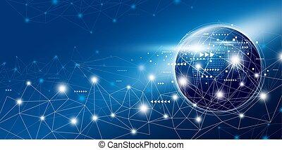 rede, espaço, global, ilustração, conexão, vetorial, desenho, cópia