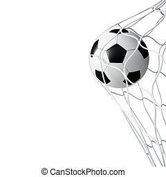 rede, futebol, isolado, bola