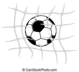 rede, futebol, quebrar, bola