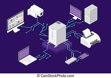 rede, gerência, concept., servidor computador, e, nuvem, base dados