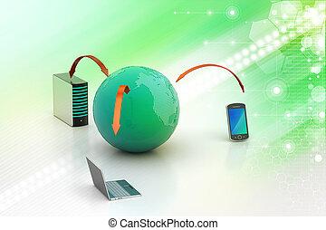rede global, e, internet, comunicação, conceito