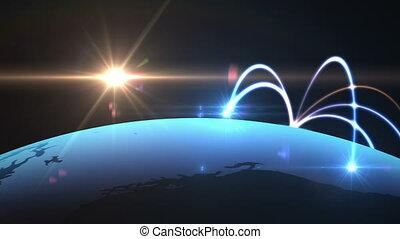 rede global, mapa mundial, animação