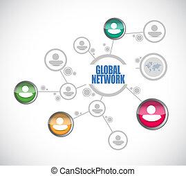 rede global, pessoas, diagrama, sinal