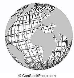rede, isolado, globo, prata