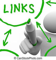 rede, ligações, conectado, tábua, desenhado, branca