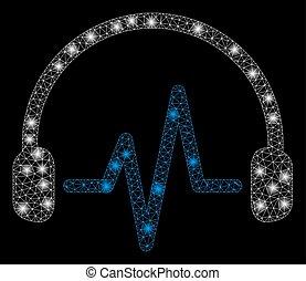 rede, luz, manchas, luminoso, malha, escutar