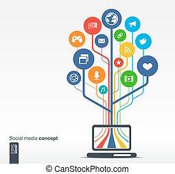 rede, mídia, árvore, caderno, crescimento, social