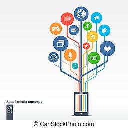 rede, móvel, mídia, árvore, telefone, crescimento, social