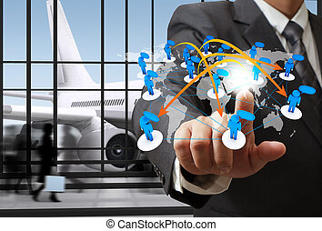 rede, negócio, ponto, aeroporto, social, ícone, homem