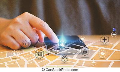 rede,  networking, conceito, Mídia,  social