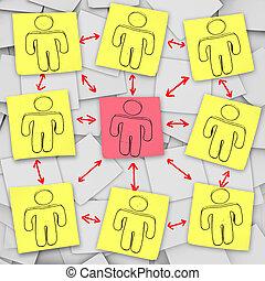 rede, notas, -, pegajoso, conexões, social