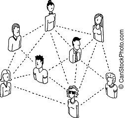 rede, pessoas, /, 2, conectando, relações, social