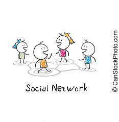 rede, pessoas., comunidade, ilustração, social, conceitual