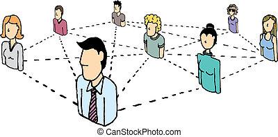 rede, pessoas negócio, /, conexões, social