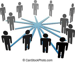 rede, pessoas negócio, mídia, ligar, social, ou