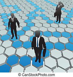 rede, pessoas negócio, mídia, social, hexágono