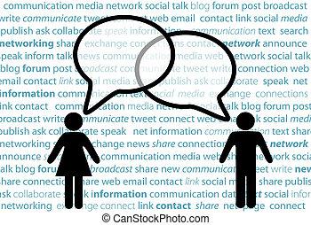 rede, pessoas, símbolo, parte, social, bolhas, conversa