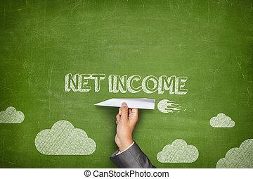 rede, renda, conceito, ligado, quadro-negro, com, avião papel