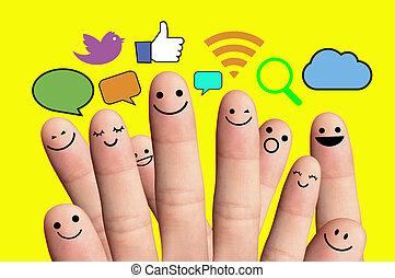 rede, sinal., smileys, dedo, social, feliz