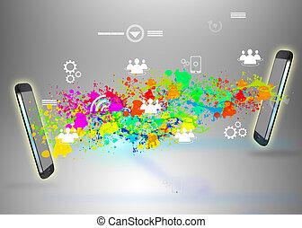 rede, social, conceito