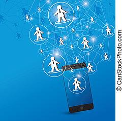rede, social, desenho