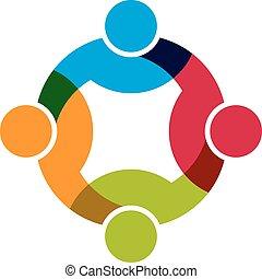 rede, social, grupo, 4 pessoas