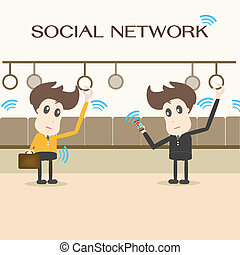 rede, social, homem negócios