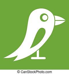 rede, social, pássaro verde, ícone