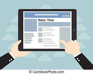 rede, tabuleta, mãos, computador, social, homem negócios