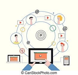 rede, tabuleta, pessoas, marketing, concept., social, laptop, vídeo, internet, smartphone.