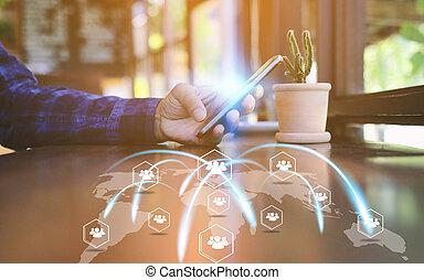 rede, tela, mão, telefone,  social, toque, conceito, esperto