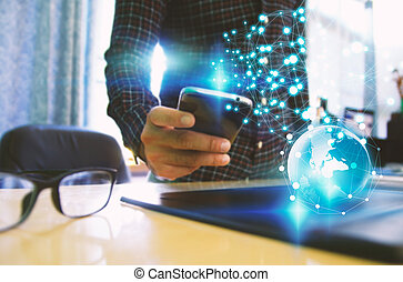 rede, tela, telefone,  social, toque, homem negócios, conceito, esperto